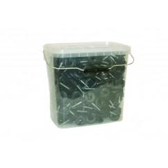 Lieli, īpaši izturīgi izolatori plastmasas spainītī, 250 gab. + urbjmašīnas uzgalis izolatora uzstādīšanai