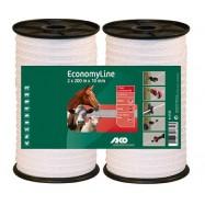 Elektriskā gana lente EconomyLine 10 mm/200 m DUO iepakojumā, balta